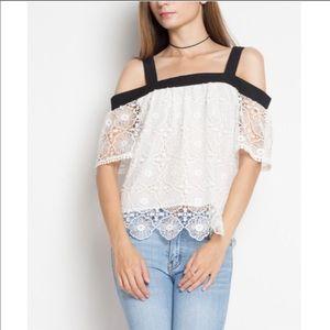 Black & White cold shoulder lace top